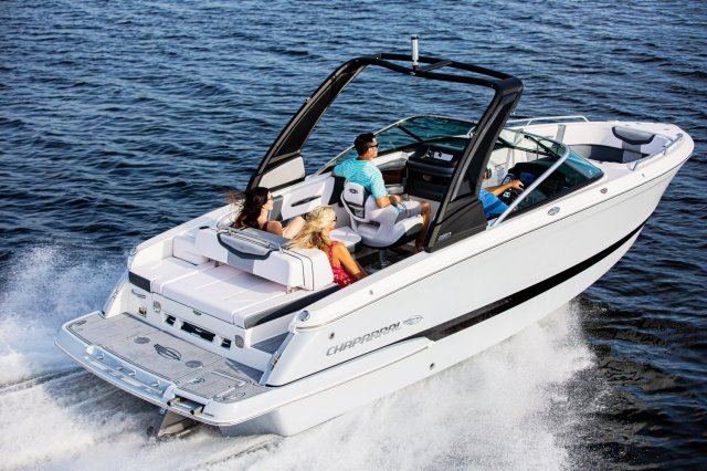 A ski boat is a boat specifically designed to safely tow one or more water skiers. This is achieved by using a high-horsepower, marinized automobile engine usually positioned in the midsection and driven through a direct drive to the propeller.