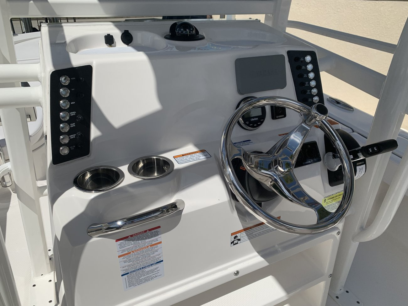 A flying bridge style boat is one that has a second piloting area (usually open) on top of a ship's main pilothouse. This serves as a second operating station where good views along the shipsides are important.