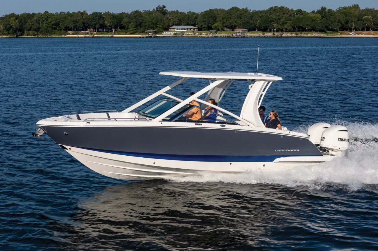 The deckboat is a cross between a bowrider and a pontoon boat.  It features a rather flat deck area with lots of room for people while still offering the speed and agility of a runabout.